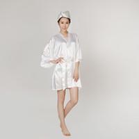 bathrobe towel woman - Satin Robe Bathrobe Women Pajamas Hotel SPA Plus Robes Pajamas for Women Nightgown Sleepwear Bath Towels