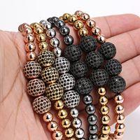 Wholesale Men Bracelets mm Pave Setting Black CZ Beads K Gold mm Round Beads Braiding Macrame Bracelet For Men Pulseras