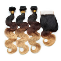 Cheap Human Hair Ombre Body Wave Brazilian Hair Weaves With Lace Closure Three Tone 1B 4# 27# Grade 7A Ombre Virgin Hair Extensions
