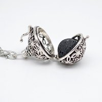 Wholesale 10pcs Filigree Flower Lockets For Essential Oil Diffuser Necklace Fashion Aromatherapy Lockets Jewelry With Lava Stone XSH