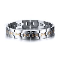 Wholesale 2016 New Set Of Magnetic Health Element Bracelet Stainless Steel Bracelets Bangles Unisex Simple Fashion Jewelry Accessories