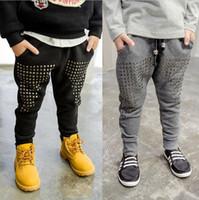 Wholesale Hug Me Boys pants Christmas Kids Clothing Winter Fashion Rivet Pants Korean Velvet Trousers ER