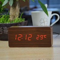 Wholesale High quality Alarm clocks with Thermometer wood wooden Led clocks Digital Table Clock electronic clocks With Cost Price