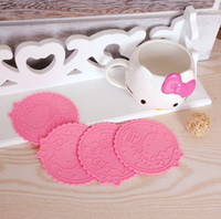 Wholesale Hello Kitty Silicone Anti Slip Kawaii pink Cup Mat Dish Bowl Placemat Coasters Base Kitchen Accessories Home Decoration