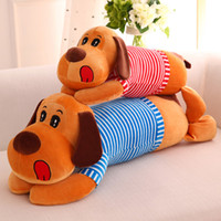 achat en gros de chiens à bas prix-Cheap Lovely Creeping Dog Pillow Baby Doll Enfants Adultes Peluches Peluches Animaux Jouets Lumbar Sleep Pillow Birthday Gift Livraison gratuite