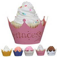Wholesale pc New Princess Imperial Crown Christmas wedding birthday party Cups Lace Laser Cut Cupcake Wrapper Liner Baking Cup Muffin