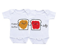 baby butter - Baby Cotton romper Peanut butter Jelly white Twin Matching Outfits Boy Girl Twin Onesies baby shower gifts Twins Bodysuits