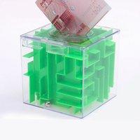 al por mayor alcancía laberinto-Venta al por mayor 3D Cube Maze Piggy Bank hueco hueco giratorio cubo Laberinto Puzzle de los niños de Inteligencia Juguetes