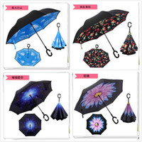 Wholesale retai colors Umbrella Double Layer Inverted Umbrella Reverse Rainy Sunny Umbrella with C Handle Self Standing Inside Out Special Design CC