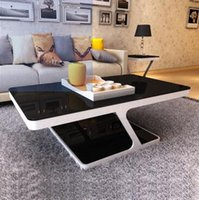 Wholesale Simple tempered glass coffee table small size living room double glass tea table office rectangular fashion coffee table