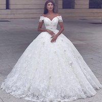 Wholesale Gorgeous Off Shoulder Ball Gown Wedding Dresses Hand Made Flowers Pearls Cap Sleeve Lace Bouffant Bride s Dress Custom Made Sweep Train