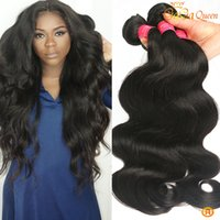 reine vierge remy cheveux péruviens achat en gros de-Gaga Queen Grade 7A Indian Body Wave Virgin Remy Extensions de cheveux humains 3 lots Unprocessed Brésilien Peruvian Indian Virgin Hair Deals