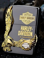 silver eagle - Holiday gift Harley windproof kerosene lighter The eagle wings Black ice fire eagle The side silver The eagle