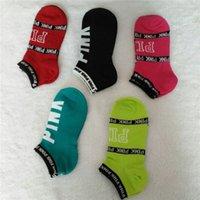 Wholesale Love VS Pink Ankle Socks Victoria Football Cheerleaders Short Sock Girls Women Cotton Sports Socks Pink Skateboard Sneaker Stockings