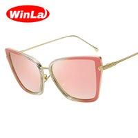 Wholesale-Winla 2017 Gafas de sol del ojo de gato del diseñador de la marca de fábrica de la manera que cubren los vidrios solares de las mujeres del partido de la lente del espejo lunette de soleil femme UV400
