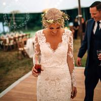 Wholesale Country Style Mermaid Lace Long Sleeves Wedding Dresses Vintage V Neck Sweep Train Vestido de Novia Boho Wedding Gowns