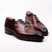 bespoke handmade shoes - Bespoke Handmade Genuine Calf Leather Outsole Oxford Brown Men s Clssic Dress Whole cut One piece Shoe No ox621