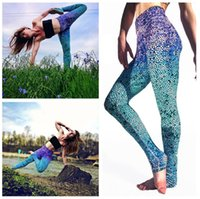 Wholesale Women Yoga Leggings Fish Scale Sport Gym Fitness Pants Gradient Color ladies Sports pants Sexy pants A0622