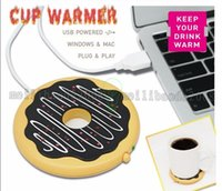 beverage warmer - 2017 Newest Creative Giant Donut USB Cup warmer Cute Hot Cookie Mug Warmer Coaster Office Tea Coffee Beverage USB powered Heater Biscuit MYY