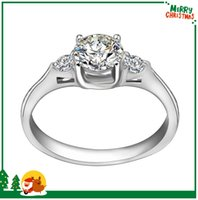 Wholesale 2016 New Arrival DIY Handmade Polish Stainless Steel Rings For Women Wedding Accessories Luxury Brand Clear CZ Crystal Three Stone Ring