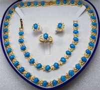 Precio de Pendientes de turquesa juego de anillos-Azul turquesa enlace pulsera / aretes / anillo / collar conjunto