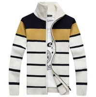 american computers - New Hot Sale Warm Cardigans Sweaters For Men Winter Sweater Striped Stand Collar Mens Knitwear Sweaters Fashion Men Sweaters Zipper