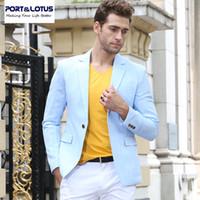al por mayor traje formal de un solo botón delgado-Venta al por mayor-PortLotus hombres traje chaqueta de la marca de vestir de moda Slim Fit Formal estilo de manga llena de solo botón de traje de negocios de color sólido 008