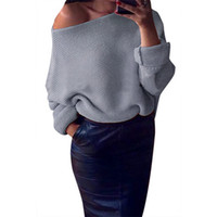 Wholesale Sexy Pullover Sweaters Colors Women Autumn Bat Sleeves Loose Jumper Sweater Long Sleeve Short Slash Neck Casual Clothing W880412