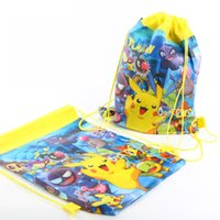 Wholesale Hot New Arrival Style x35cm Poke Doll Pikachu nonwovens Sundry receive package Pikahcu drawstring bags