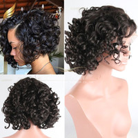 Cheap Brazilian hair human hair lace wigs Best bob curly Medium lace front wigs