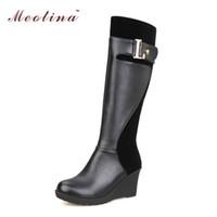 Venta al por mayor-Meotina plataforma de diseño de cuña tacones de las mujeres de la rodilla botas altas zapatos de hebilla Invierno Moda de nieve botas de color marrón rojo de gran tamaño 12 13 14