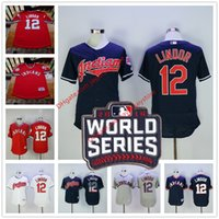 army men series - 2016 World Series Patch Francisco Lindor Jersey Cleveland Indians Jerseys Blue Pullover White Grey Flexbase