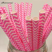 baby girl shower pop - Hot Pink Chevron Paper Straws Hot Pink Zig Zag Straw Birthday Decorations Cake Pops Baby Girl Shower Decoration Pastel Pink