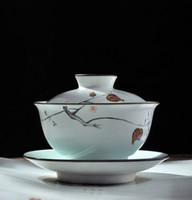 Wholesale Jingdezhen ceramics large white porcelain household hand painted celadon three Caibai bowl teacup Kung Fu tea sets
