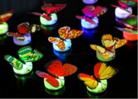 Wholesale Lovely Changing ABS Butterfly LED Night Lights Lamp Creative Color Beautiful Home christmas Decorative Wall stick Nightlights Random