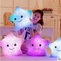 5 Color 40 * 35cm Emoji Luminous Pillow Navidad Juguetes Led Pillow almohada de peluche estrellas coloridas Kids Toys Regalos de cumpleaños CCA5438 50pcs