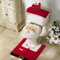 bathroom suppliers - Hot Fancy Santa Toilet Seat Cover Rug Bathroom Set Contour Christmas Decorations for Natal Navidad Supplier