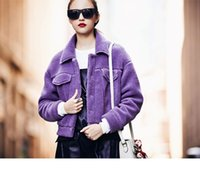 Wholesale Winter New arrival Women s Clothing Women s Jackets Coats Loose Short thickening Solid color Fashion Lambswool Keep warm