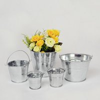 Wholesale Galvanized Buckets Buckets Storage Metal Flower Pot Vase Bucket Garden Planter Home Decor Tin Planter KKA1586