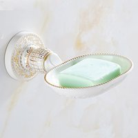Wholesale And Retail Promotion Hot Sale White and gold Soap Dishes Basket Bathroom products Soap Dish Holder