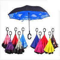 Wholesale 30Design Inverted Umbrella Double Layer Inverted Umbrella Reverse Rainy Sunny Umbrella with C Handle Self Standing Inside Out Special Design