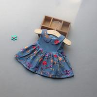 american girl halloween - new arrivals girl kids Elegant dress Pet Pan Collar Sleeveless Emboridery Flower girl kids dress charming pleated denim girl dress