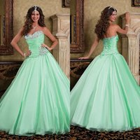 Wholesale Hot Sale Lovely Princess Ball Gown Quinceanera Dresses Mint Green Organza Sweetheart Lace Up Back Beaded Sequins Pleated Bodice Prom Gowns