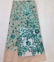 aqua sequin fabric - 2017 Beautiful Latest aqua color Fabric sequins tulle lace Hot new for guipure african sequence cupion lace for Nigerian wedding