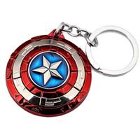 Wholesale Rotatable Superstars Hero Marvel Captain America Shield Key Chains Movie Series Avengers Hip Hop Keyring Keychain key holder