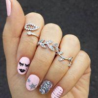 Wholesale 3PCS Set hot sale fashion full crystal leaf ring set beautiful style joints ring