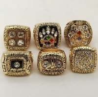 Wholesale 6 Sets Football Steeler super bowl Championship Ring