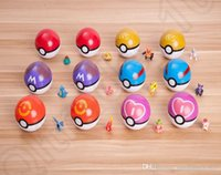 Wholesale Pokeball Action Figure cm Poke Anime Cartoon ABS Plastic Poke Pocket Monster Ball Kids Toys Christmas Gift designs OOA928