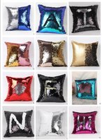 Wholesale 17 Style Sequins Pillow Cushion Cover Pillowslip Sofa Pillow Case Iridescent Glow pillow Cover double color Pillow Covers cm DHL FREE