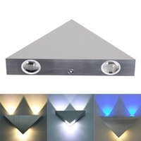 Wholesale 3W Led Wall Sconce Lights with Aluminium Aisle light Bedroom Hote Triangle Shape Decorative Lights Multi colored light Optional